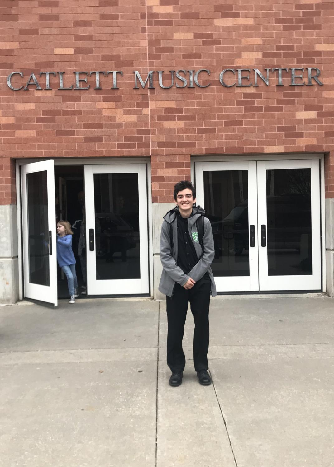 Ryan McLaughlin in front of the Catlett Music Center at the University of Oklahoma.
