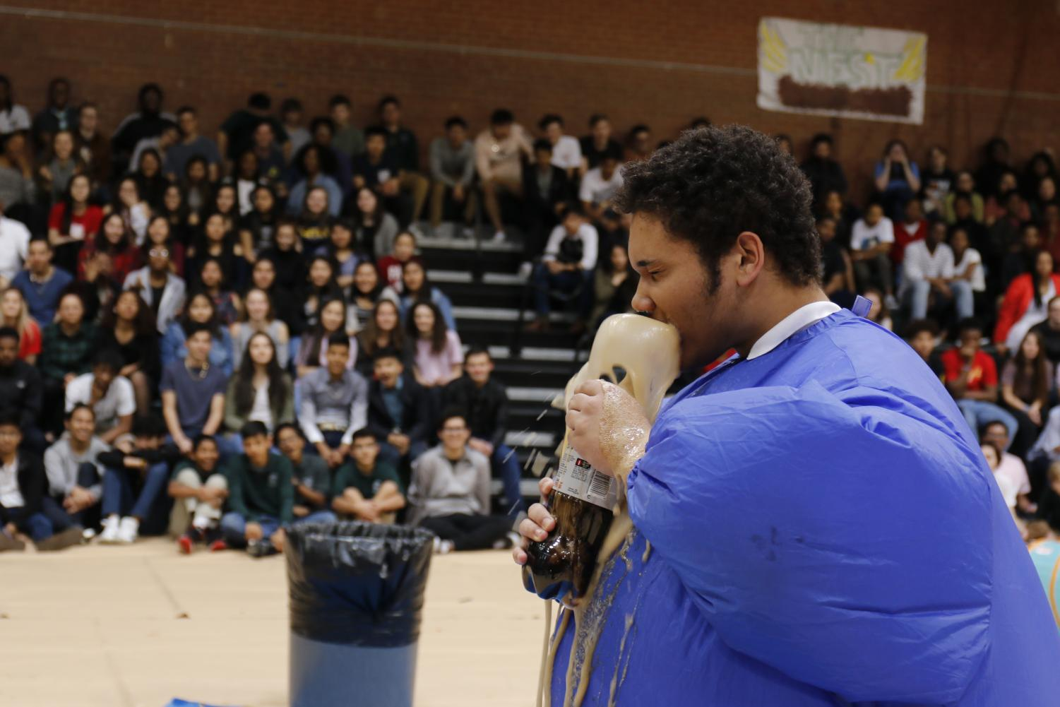 File photo: Alex Nadjkovic enjoys a cocktail of Mentos and Diet Coke at the 2018 Eagle Week assembly.