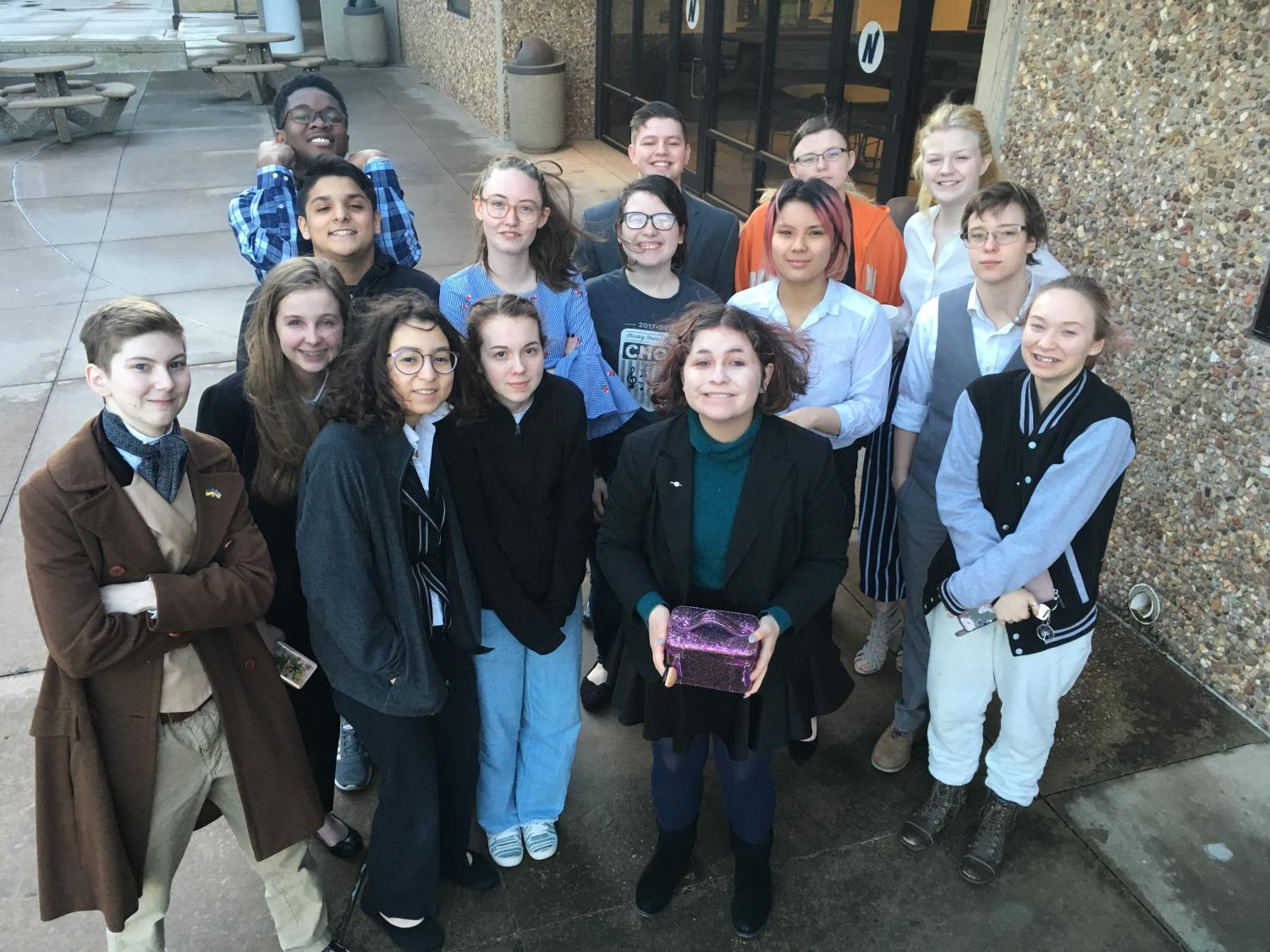 The Regional Speech and Debate competitors outside Edmond North High School.