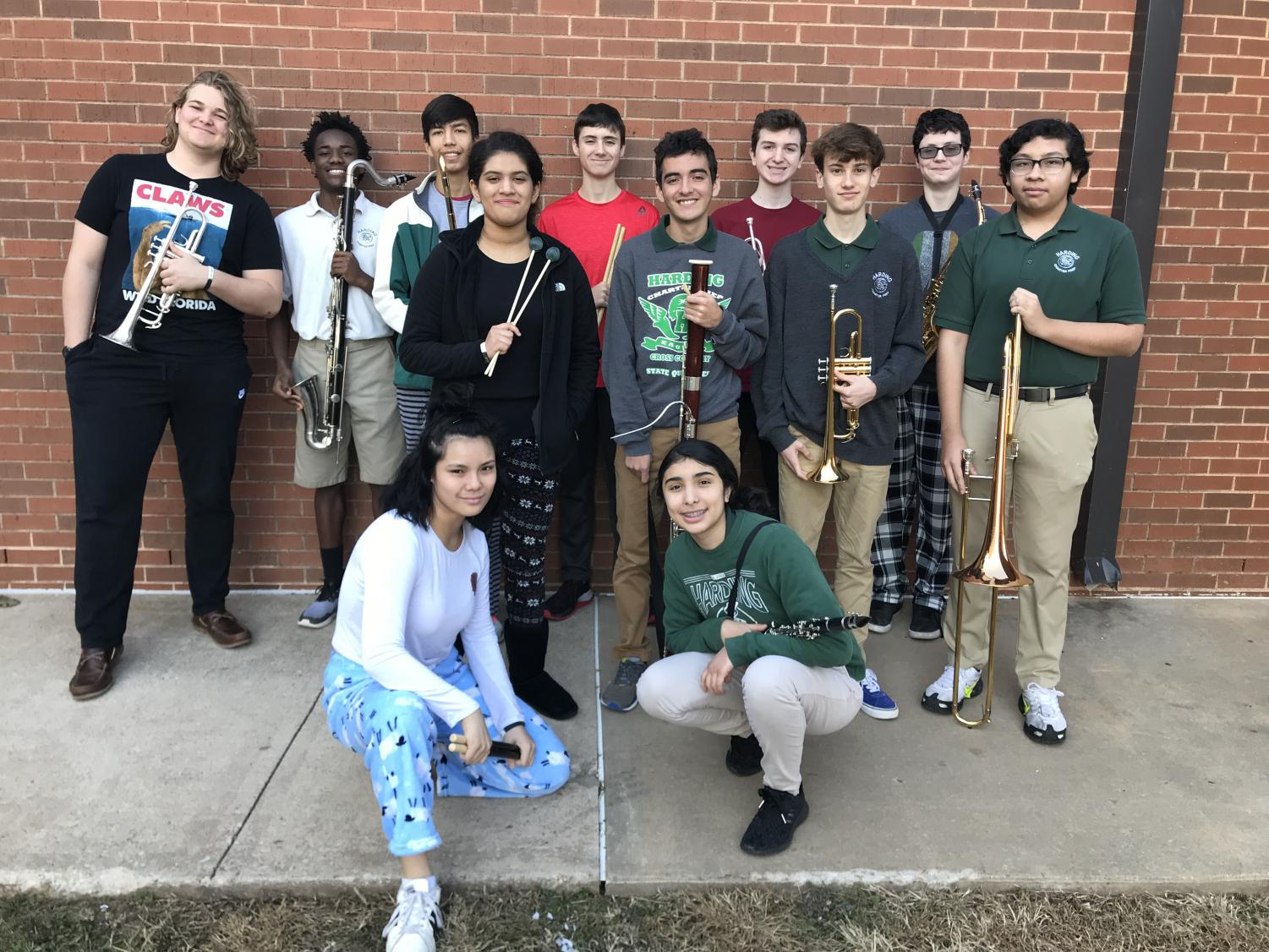 Front row: Reyna Sun and A.C. Uribe. Second row: Gwen Herrada, Ryan McLaughlin, August Biggs and Leonardo Moreno-Gordillo. Back row: Gage Catteeuw, Malachai Canty, Eduardo Benitez-Mejia, Sean Carr, Michael LaSala and Ashton West. These students all earned spots in the All City Honor Band in mid-November.